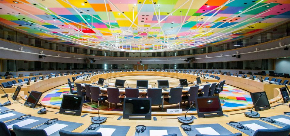 epa05667819 An interior view of the Europa building hall to be used for European Council meetings in Brussels, Belgium, 09 December 2016. Located at the heart of the European district, the Europa building combines a new part, a lantern-shaped structure designed by the consortium of Samyn and Partners (Belgium), Studio Valle Progettazioni (Italy) and Buro Happold (UK), and a renovated section listed Art Deco complex designed by architect Michel Polak in 1922. The building is scheduled to host it's first European head of governments summit in January 2017.  EPA/STEPHANIE LECOCQ